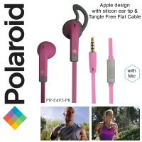 Polaroid Earphone Apple design, tangle free w/ microphone & silicone ear tip stereo headset PRE495PK