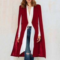 [globalbuy] Plus Size V-neck Women Full Sleeve Loose Lapel Cape Office Ladies Long Blazer /3987163