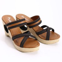 Dr. Kevin Leather Wedges Sandals 27293 Black