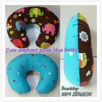Bantal Menyusui Cute Elephant Polka Blue Fruity