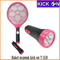 Kick On Raket Nyamuk 2 IN 1 Senter 7 Led -Merah