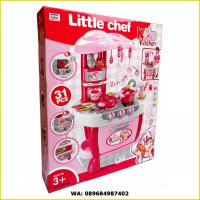 KITCHEN LITTLE CHEF PINK 31 PCS - KADO MAINAN ANAK MASAK MASAKAN