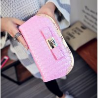 70982 tas clutch dompet pesta chanel quilted leather soft pink pastel - EV1685
