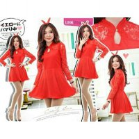 Dress CARRIE Red Twistcone Kombinasi Brukat