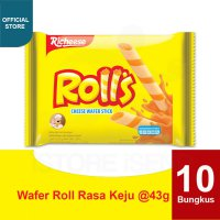 Nabati Richeese Rolls Wafer Stick Keju 43 gr (10 pcs)