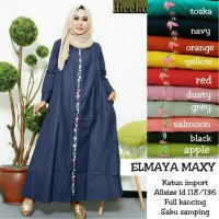 Long Dress maxmara Wanita Muslim bordir elmaya jumbo XXL busui + saku