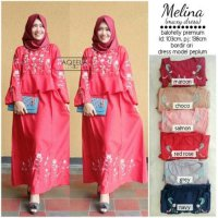 Long Dress maxmara Wanita Muslim bordir peplum melina XL