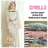 Long Dress maxmara Wanita Muslim gaun pesta brokat lace import cyrillo
