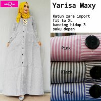 Long Dress maxmara Wanita Muslim busui motif garis XL yarisa