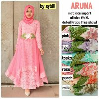Long Dress maxmara Wanita Muslim gaun pesta brokat lace import aruna XL