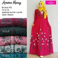 Long Dress maxmara Wanita Muslim brokat lace amore XL busui