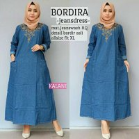 Long Dress maxmara Wanita Muslim jeans bordira XL