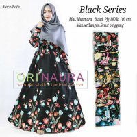 Long Dress maxmara Wanita Muslim busui motif black series busui XL