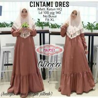 Long Dress maxmara Wanita Muslim polos chintami choco XL