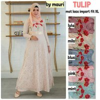 Long Dress maxmara Wanita Muslim brokat lace gaun pesta tulip XL