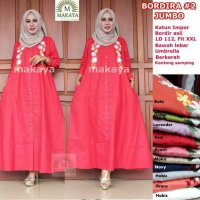 Long Dress maxmara Wanita Muslim polos bordir bordira jumbo XXL busui
