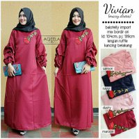 Long Dress maxmara Wanita Muslim vivian bordir XL lengan ruffle