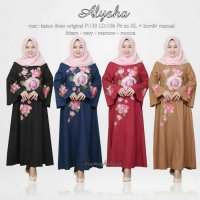 Long Dress maxmara Wanita Muslim bordir cantik jumbo busui alysa