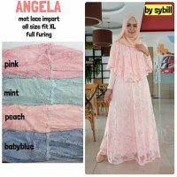 Long Dress maxmara Wanita Muslim brokat lace import angela XL gaun pesta