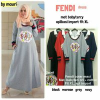 Long Dress maxmara Wanita Muslim kaos fendi XL