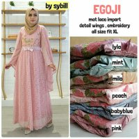 Long Dress maxmara Wanita Muslim gaun pesta brokat lace import egoji XL