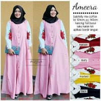 Long Dress maxmara Wanita Muslim busui bordir ameera XL