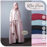Long Dress maxmara Wanita Muslim polos kilia L XL