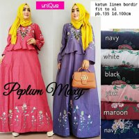 Long Dress maxmara Wanita Muslim peplum bordir XL