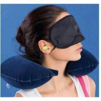 Inflatable Travel Pillow Set Bantal Leher Penutup Mata Telinga Pesawat