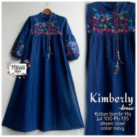 Long Dress maxmara Wanita Muslim bordir kimberly navy XL