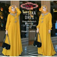 Long Dress maxmara Wanita Muslim polos yesika XL murstard