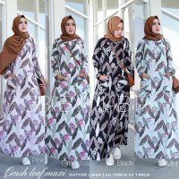 Long Dress maxmara Wanita Muslim motif busui XL jumbo crush leaf