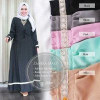 Long Dress maxmara Wanita Muslim busui polos zanira XL