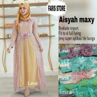 Long Dress maxmara Wanita Muslim brokat lace import aisya XL