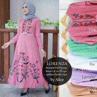 Long Dress maxmara Wanita Muslim bordir brokat lace lorenza XXL jumbo