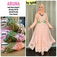 Long Dress maxmara Wanita Muslim gaun pesta brokat lace import aruna