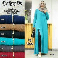Long Dress maxmara Wanita Muslim gee long slit XL jumbo