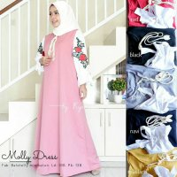Long Dress maxmara Wanita Muslim molly XL hitam navy abu merah mustard