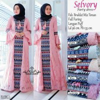 Long Dress maxmara Wanita Muslim brokat mix tenun furing selvory L puff