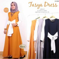 Long Dress maxmara Wanita Muslim polos pita tasya XL
