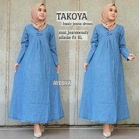 Long Dress maxmara Wanita Muslim takoya basic jeans XL biru