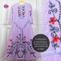 Long Dress maxmara Wanita Muslim brokat full furing glamour XL ungu