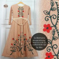 Long Dress maxmara Wanita Muslim brokat full furing glamour XL mocca