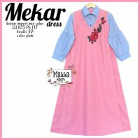 Long Dress maxmara Wanita Muslim Sekar jumpsuit bordir 3D pink XL jumbo