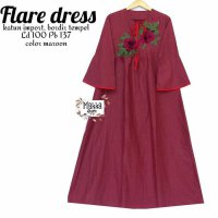 Long Dress maxmara Wanita Muslim bordir flare XL merah maroon