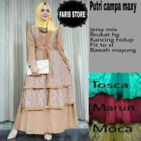 Long Dress maxmara Wanita Muslim busui gaun pesta brokat lace XL mocca