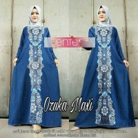 Long Dress maxmara Wanita Muslim Jeans Bordir Ozuka Jumbo XXL biru