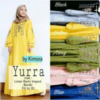 Long Dress maxmara Wanita Muslim yurra bordir Hitam kuning biru peach