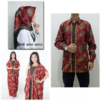 SB Collection Couple Stelan Julianti Dress Maxi Kaftan Jumbo Hijab Segi Empat Dan Kemeja Batik Pria