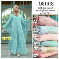Long Dress pesta maxmara Wanita brokat Muslim Osiris Lace Import peach